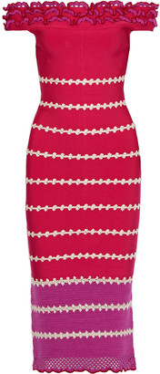 Herve Leger Off-the-shoulder Paneled Crochet And Bandage Midi Dress