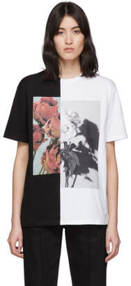 Alexander McQueen White and Black Oversized Hybrid Floral T-Shirt