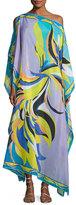 Emilio Pucci Fiore Maya Border-Print Caftan Coverup, Blue Print
