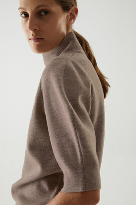 Cos Merino Wool-Cotton Mix Roll-Neck Sleeve Detail Top