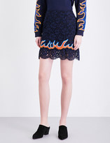 Sandro Flame-embroidered lace mini skirt