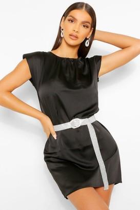 boohoo Satin Shoulder Pad Shift Dress