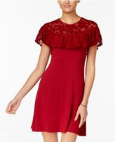 Teeze Me Juniors' Ruffled Lace-Trim Dress