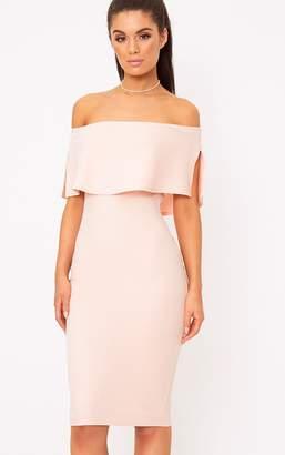 PrettyLittleThing White Bardot Frill Midi Dress