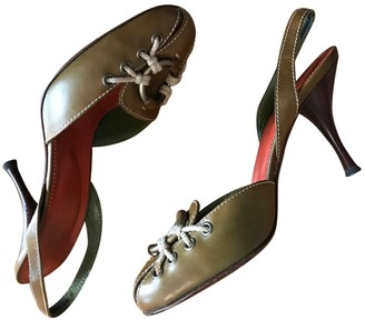 Saint Laurent Khaki Leather Heels
