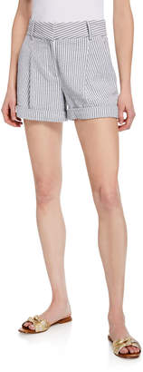 Veronica Beard Carito Striped Cuffed Shorts