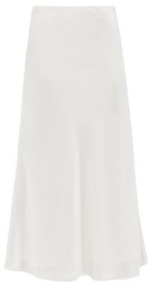 Galvan Valletta Flared Satin Midi Skirt - White