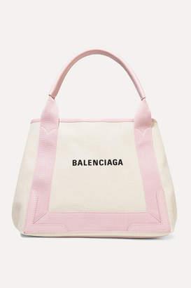 Balenciaga Cabas Small Leather-trimmed Printed Canvas Tote - Ecru