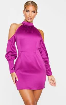 PrettyLittleThing Purple Satin High Neck Cold Shoulder Bodycon Dress