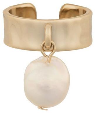 Mocha Pearl Drop Ring w/ Cubic Zirconia - Light Gold