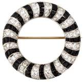 Brooch Udall & Ballou Onyx & Diamond Circle Brooch