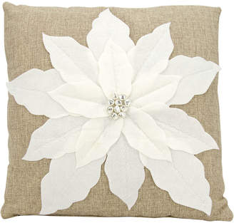 Nourison Mina Victory Home For The Holiday Poinsettia Polyester Decorative Pillow