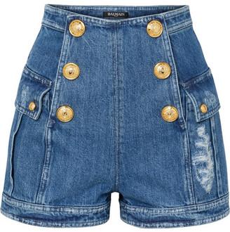 Balmain Button-embellished Distressed Denim Shorts - Blue