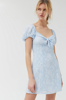 Urban Outfitters Novara Tie-Front Puff Sleeve Mini Dress