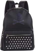 Philipp Plein Leather Studded Skull Backpack, Black, One Size