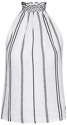 Frame Embroidered Striped Halter Top