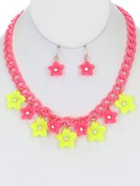 Ruby Imports TURTOUISE LUCITE LINK THREE LAYER CHAIN NECKLACE SET