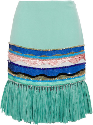 Emilio Pucci Faux Raffia-trimmed Embellished Crepe Mini Skirt