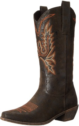 "AdTec Ad Tec Women's 14"" Western Pull On Boots with Fancy Stitching Brown-W 6.5 M US"