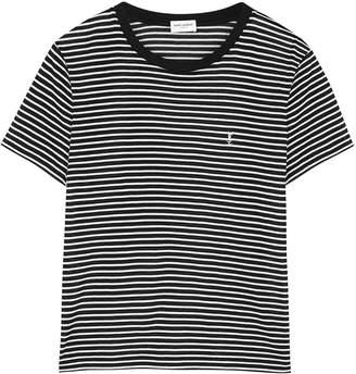 Saint Laurent Monochrome Striped Cotton T-shirt
