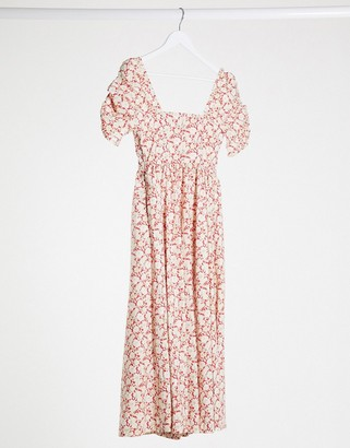 Free People printed midi dress in pink floral