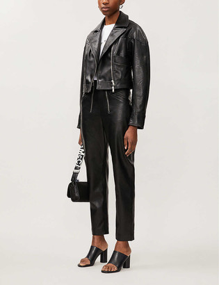 Stella McCartney Cropped faux-leather biker jacket