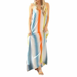 Beetlenew Womens Dress Dress for Women Rainbow Printed Sleevelss V Neck Strappy Backless Pleated Hem Flowy Long Sundress Casual Beach Party Holiday Maxi Dresses with Pockets (M