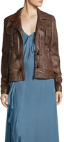 Haute Hippie Blondie Open Lace-Back Leather Jacket