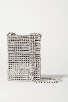 Area Crystal Flapper Embellished Silver-tone Shoulder Bag