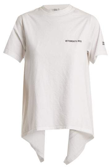 Vetements Open Back Crew Neck T Shirt - Womens - White Print