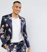 Asos TALL WEDDING Super Skinny Suit Jacket With Navy Floral Print