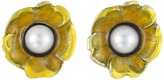 Oscar de la Renta Flower Pearl Button C Earrings