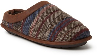 Dearfoams Men's Quilted Clog Slippers with FauxLeather Trim