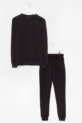 Nasty Gal Womens The Real You Jumper and Joggers Lounge Set - Black - L