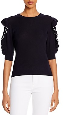 Frame Ruffled Elbow-Sleeve Sweater
