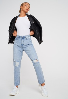 Missguided Light Blue Highwaisted Distressed Knee Mom Jeans