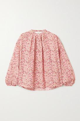 DÔEN Jane Floral-print Cotton-blend Voile Blouse - Pink