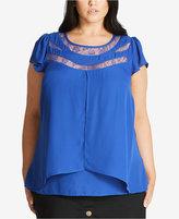 City Chic Trendy Plus Size Flutter-Sleeve Lace-Trim Top