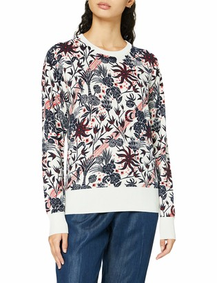 Scotch & Soda Women's Allover Printed Pullover with Shiny Ribs Sweater