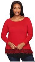 Karen Kane Plus Plus Size Lace Inset Sweater