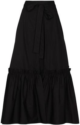 Rosetta Getty Wrap Ruffle Trim Midi Skirt