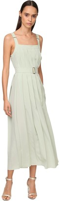 Max Mara Pleated Crepe De Chine Midi Dress & Belt