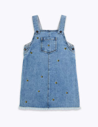 Marks and Spencer Denim Embroidered Bee Pinny (2-7 Years)