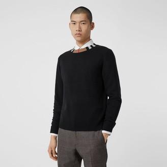 Burberry Icon Stripe Trim Cashmere Sweater