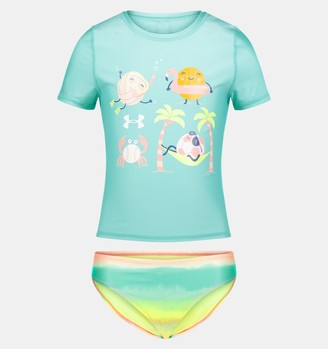 Under Armour Girls' Pre-School UA Beach Balls & Ombre Rashguard Set