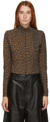 Ganni Brown and Black Leopard Turtleneck