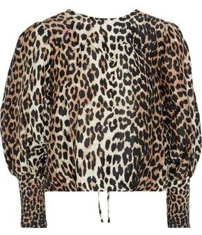Ganni Cedar Tie-back Leopard-print Linen And Silk-blend Blouse