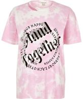 River Island Womens Pink tie dye 'stand together' print T-shirt