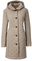 Lands' End Women's Plus Size Fleece Lined Quilted Wool Coat-Charcoal Heather