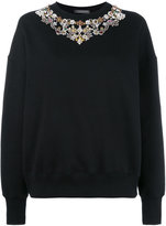 Alexander McQueen jewelled sweatshirt - women - Cotton - 42